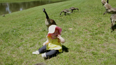 Baby infant girl with goose family Stock Footage