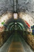 Grafitti in tunnel Stock Photos