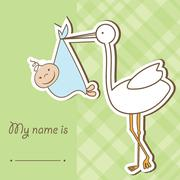 Baby arrival card with stork that brings a cute boy Stock Illustration
