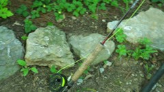 Fishing trip poles Stock Footage