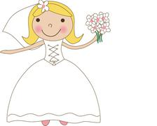 Fiance in the wind. Pretty lady in a flying wedding dress Stock Illustration