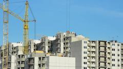 Building a house with the application of cranes..Time lapse - stock footage