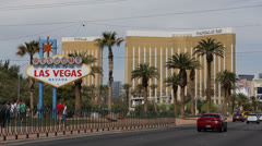 Welcome to Fabulous Las Vegas Sign Strip Mandalay Bay Hotel Casino Tourist Visit Stock Footage