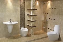 Minimalist modern bathroom Stock Photos