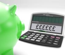 Stock Illustration of pounds calculator shows uk interest on wealth