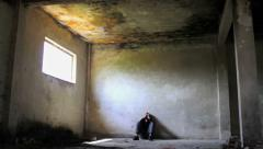 Stock Video Footage of Homeless Depressed Young Man In Abandoned Building Unemployment Concept HD