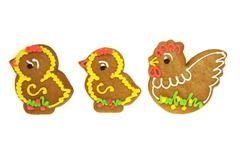 Easter gingerbread chickens with fowl isolated on white Stock Photos