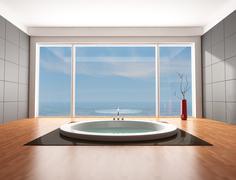 luxury bathroom - stock illustration