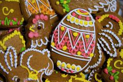 Easter homemade gingerbread background Stock Photos