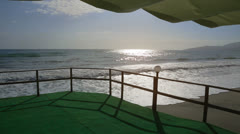 Terrace of an hotel in front of the sea Stock Footage