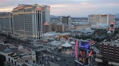 Night Dusk Las Vegas Strip Caesars Palace Hotel Casino Gaming Blackjack Roulette Stock Footage