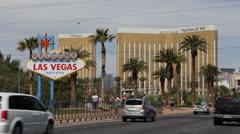 Welcome to Fabulous Las Vegas Nevada Sign Strip, Mandalay Bay Hotel Casino, USA Stock Footage