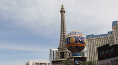 Las Vegas Strip, Eiffel Tower, Paris Hotel Casino, Ballys Hotel, by day Stock Footage