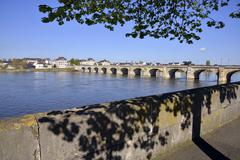 The banks of the Loire at Saumur Stock Photos
