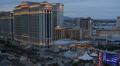 Las Vegas Skyline Busy Street Aerial View Dusk Caesars Palace Casino Hotel night HD Footage