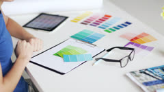 woman with color samples for selection - stock footage