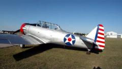 Warbird  Airplane AT-6 Texan On The Ramp Stock Footage