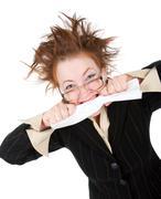 crazy businesswoman breaks contract - stock photo
