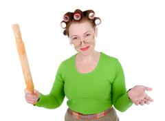 Angry crazy  housewife Stock Photos