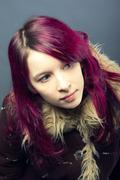 emo look   girl with red hair - stock photo