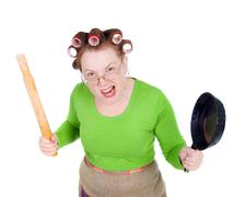 angry crazy  housewife - stock photo