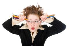 angry crazy business woman - stock photo