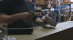 Men working in workshop Stock Footage