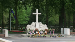 Monument with Cross of Remembrance - Military War Cemetery Stock Footage