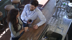 Couple toasting in bar/restaurant  Stock Footage