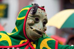 mask parade at the historical carnival in freiburg, germany - stock photo