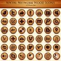 Stock Illustration of Social network icons. Wood Texture Buttons