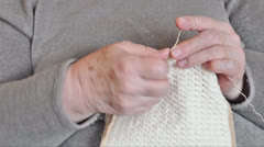 Close-up of woman hands crocheting Stock Footage