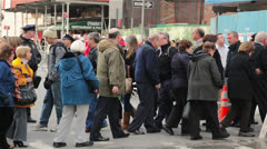 People Crossing Street in New York Stock Footage