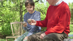 Grandfather and grandson with bocce Stock Footage