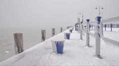Harbor at Lake Balaton in winter time, Hungary Stock Footage