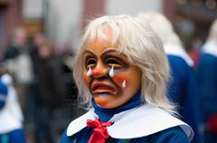 Mask parade at the historical carnival in freiburg, germany Stock Photos