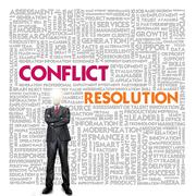 business word cloud for business and finance concept, conflict management - stock photo