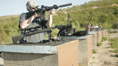 Shooting ar15 at range Stock Footage