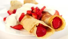 Pancake with strawberry and yogurt Stock Footage
