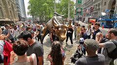 Bull Statue in NYC Financial District Sculpture New York City Downtown Manhattan - stock footage