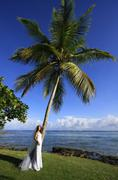 young woman in wedding dress standing by palm tree - stock photo
