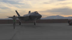 Arrival of F-35 Lightning II Nellis AFB Stock Footage