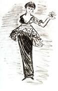 women cocktail dress-pyramid early 20th century - stock illustration
