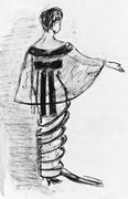 lady evening velvet dress and taffeta tippet 1914 year - stock illustration