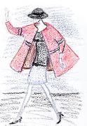 girl in a short pink coat from 60th years - stock illustration