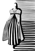 Woman in gray coat and dress with pleating Stock Illustration