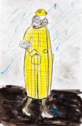 Stock Illustration of yellow demi-season coat of 20th years