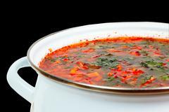 casserole with fresh hot borsch - stock photo