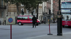Armed Police get in Van by Downing St nr Cenotaph, Whitehall, London. Stock Footage