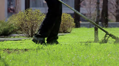 Lawn mower, brushcutter, trimmer Stock Footage
